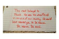 A note left in the coat of CW3 Frank Buoniconti as it was donated to a homeless man. (Courtesy of Kryste Buoniconti)