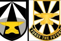 The shoulder sleeve insignia, left, and distinctive unit insignia for Army Futures Command. With a golden anvil as its main symbol, the shoulder patch and unit insignia are a nod to former Gen. Dwight D. Eisenhower's personal coat of arms, which included a blue-colored anvil. (US Army illustration)