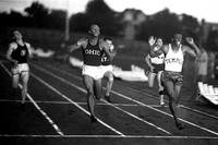 Eulace Peacock, right, beating Jesse Owens, center, in 1935. (Photo courtesy of Lt. Cmdr. Bill McKinstry)