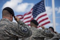 82nd Training Wing salues the US flag