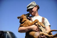 Female soldier holds her puppy.