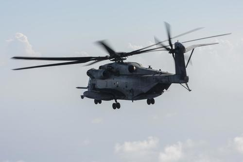A CH-53 Super Stallion with Marine Heavy Helicopter Squadron (HMH) 462, 3rd Marine Aircraft Wing, forward deployed as part of the unit deployment program with 1st Marine Aircraft Wing, conducts a flight off the coast of Okinawa, Japan, on July 31, 2017. Lance Cpl. Christian J. Robertson/Marine Corps