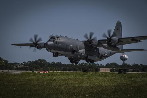 An AC-130J Ghostrider gunship takes off from Hurlburt Field, Florida, Sept. 9, 2017. (U.S. Air Force/Senior Airman Ryan Conroy)