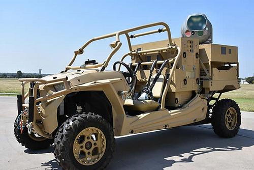 Raytheon mounted a high-energy laser on a dune buggy that may offer maneuver formations defense against drones. Raytheon photo
