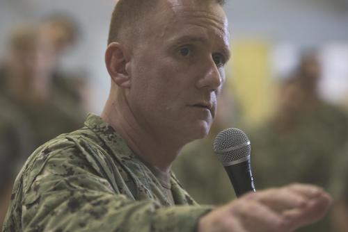 Master Chief Petty Officer of the Navy Steven S. Giordano speaks with Sailors from Marine Corps Base Hawaii, Jan. 10, 2018. (U.S. Marine Corps/Sgt. Alex Kouns)
