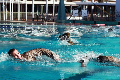 Passing Military Swimming Tests