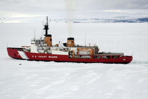 The 40-year-old Polar Star, the Coast Guard's only operational heavy icebreaker capable of conducting Antarctic ice operations, carves a channel in ice near Ross Island on Jan. 16, 2017. (Chief Petty Officer David Mosley/Coast Guard)